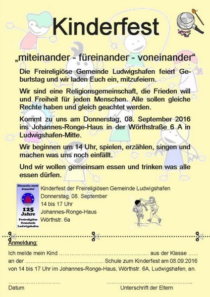 kinderfest - freireligiöse landesgemeinde pfalz, Einladungen